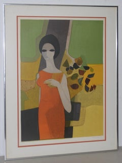 "Andre Minaux (French, 1923-1986) ""Grande Dame"" Color Lithograph c.1960s"