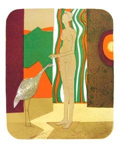 """Andre Minaux-La Femme et l'Oiseau-12.75"""" x 9.75""""-Lithograph-1972-Modernism"""