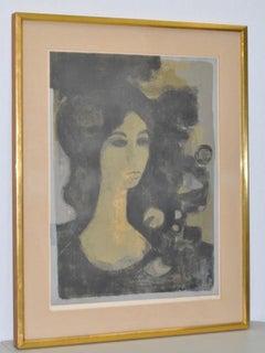 """Andre Minaux """"Tete de Femme"""" Original Lithograph c.1960s"""