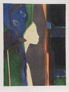"""""""Dame et Mirroir"""", 1974, Signed Lithograph by Andre Minaux"""