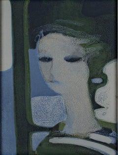 """""""Sandra,"""" Original Color Lithograph Blue Portrait by Andre Minaux"""