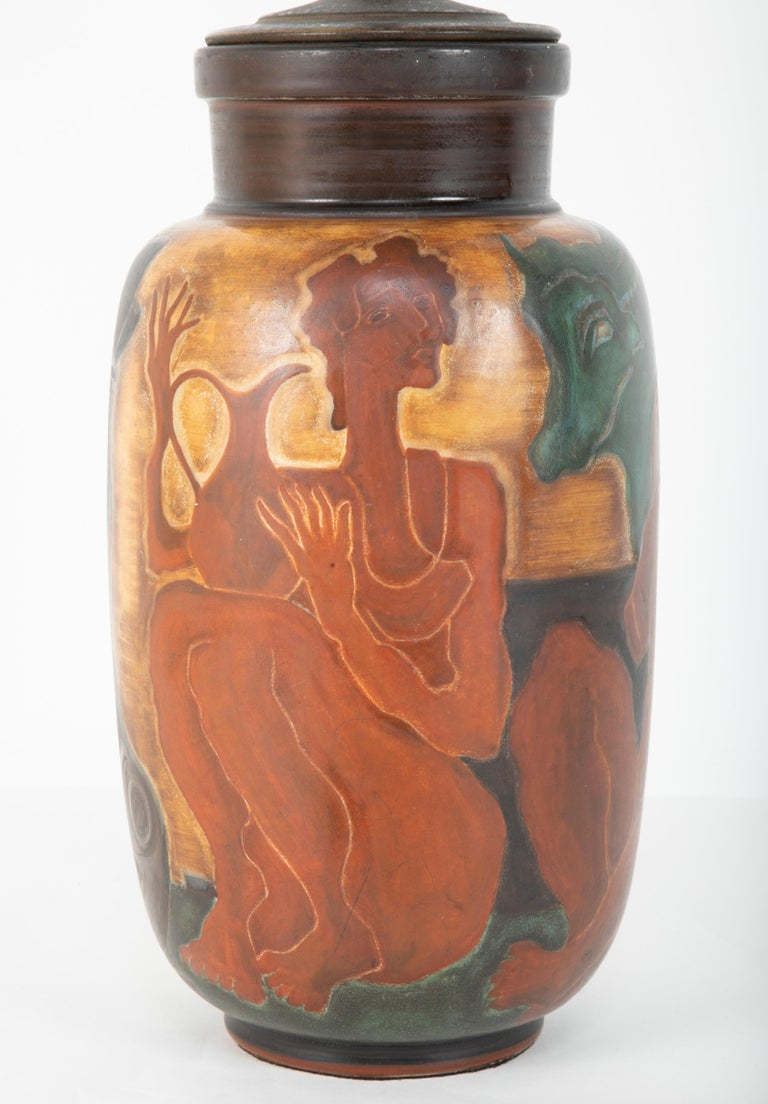 French Andre Plantard, Sèvres Porcelain Vase now a Lamp For Sale