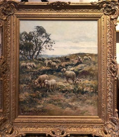 Idyllic Landscape Oil Painting of Sheep Grazing with a Shepherd