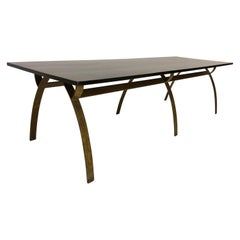 Renou et  Génisset, Custom Gilt Wrought-Iron and Redwood Dining Table