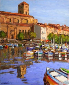 """""""La Ciotat"""" by Andre Roubaud 28 x 23 inch Oil on Canvas"""