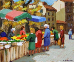 """""""Marche Cours Joseph Thierry"""" 15 x 18 inch Oil on Canvas by Andre Roubaud"""