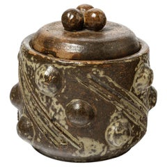 André Rozay 20th Mid Century Stoneware Brown Ceramic Jewelry Box La Borne, 1943