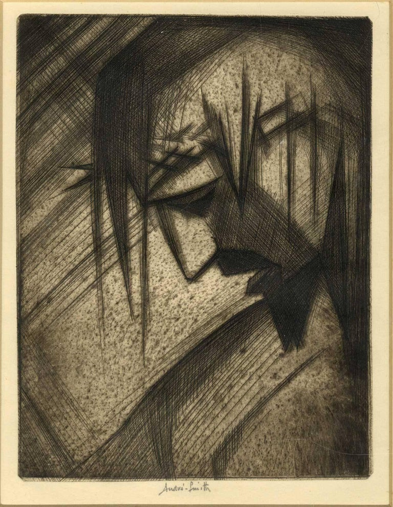 Man of Sorrows ( GOOD FRIDAY stylized side profile of Christ in crown of thorns) - Print by André Smith