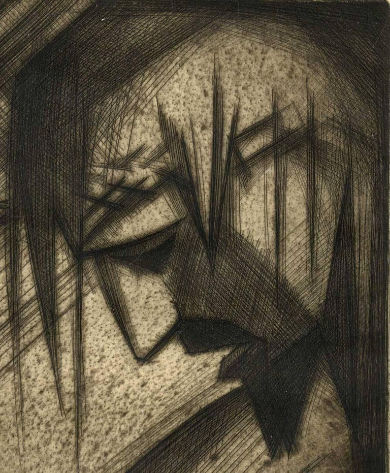 Man of Sorrows ( GOOD FRIDAY stylized side profile of Christ in crown of thorns) - American Modern Print by André Smith