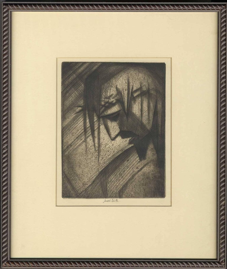 André Smith Portrait Print - Man of Sorrows ( GOOD FRIDAY stylized side profile of Christ in crown of thorns)