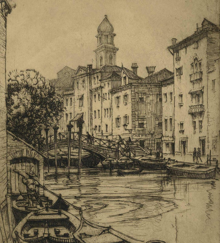 Venice (gondolas, arched bridges and villas along a canal of this fabled city) - Print by André Smith