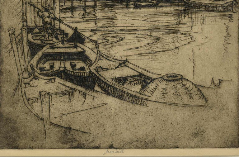 Venice (gondolas, arched bridges and villas along a canal of this fabled city) - American Modern Print by André Smith