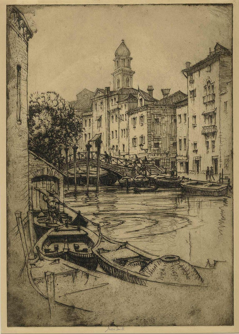 Venice (gondolas, arched bridges and villas along a canal of this fabled city) - Brown Landscape Print by André Smith