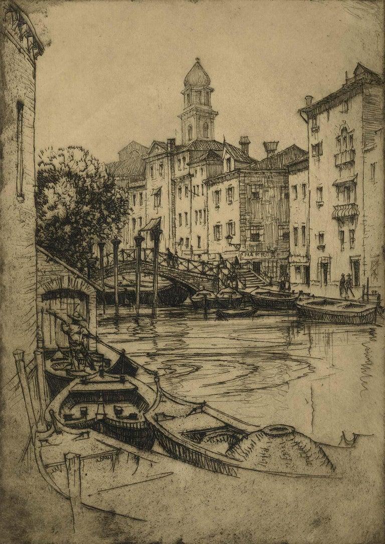 André Smith Landscape Print - Venice (gondolas, arched bridges and villas along a canal of this fabled city)