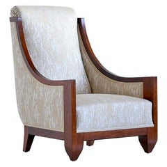 André Sornay Art Deco Armchair in Walnut and Dotted Jacquard, France, Late 1920s