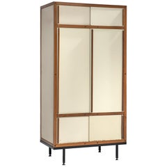 André Sornay Completely Original Armoire in Cream and Mahogany