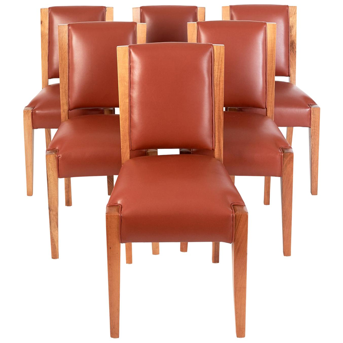 André Sornay: Important Set of Six Walnut & Leather Dining Chairs, France 1930s
