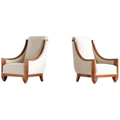 André Sornay Pair of Art Deco Armchairs in Walnut, France, Late 1920s
