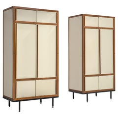 André Sornay Pair of Original Armoires in Cream and Mahogany with Sliding Doors