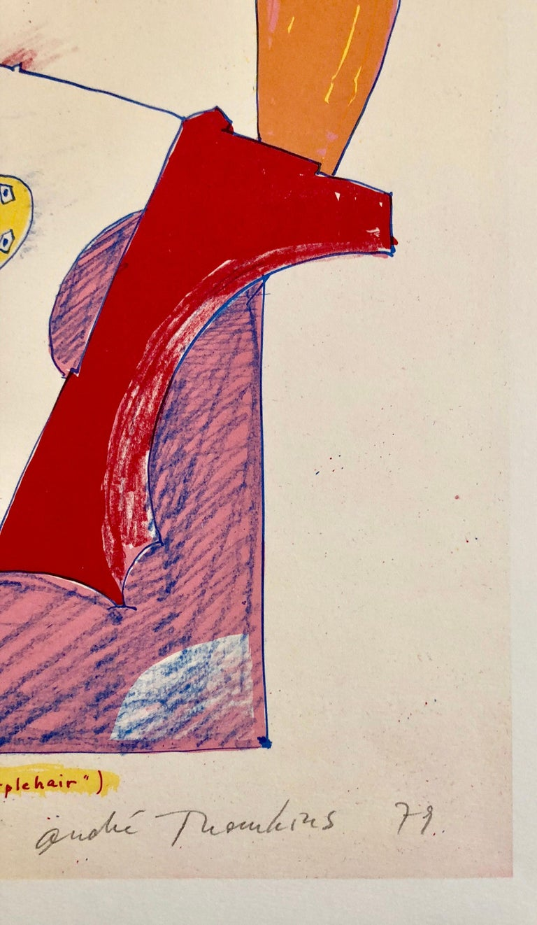 1970s Modernist Swiss Colorful Surrealism Signed Dada Lithograph Andre Thomkins - Print by André Thomkins
