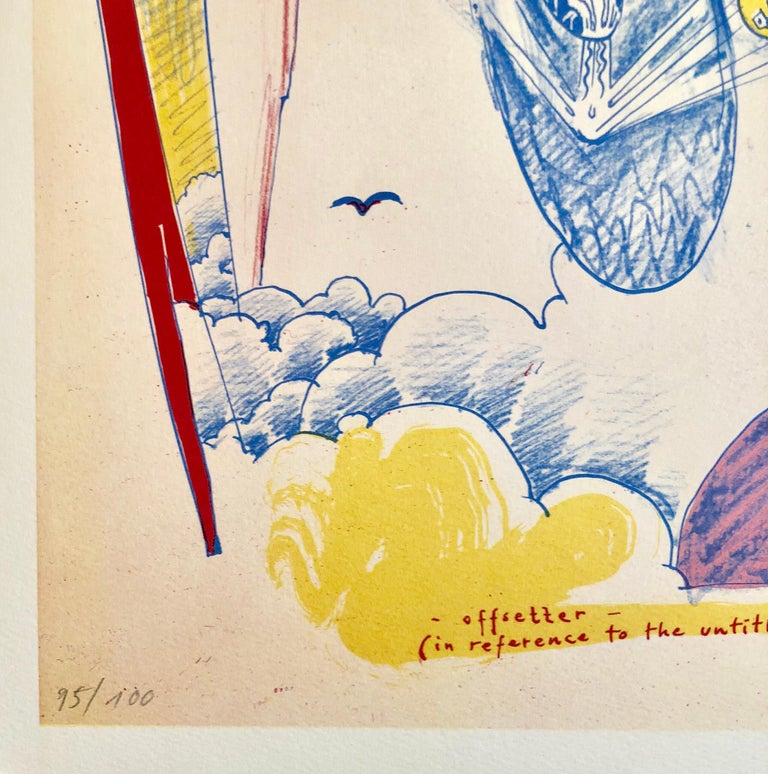 1970s Modernist Swiss Colorful Surrealism Signed Dada Lithograph Andre Thomkins - Beige Figurative Print by André Thomkins