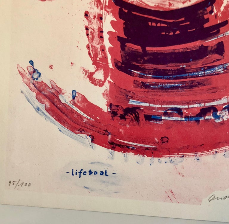This one is titled Lifeboat and depicts a boat in red and blue with a futurist Allen Jones type figure above it.  Published by  Edition Hansjörg Mayer, Stuttgart They published concrete poetry and art books by  Mark Boyle, Richard Hamilton, Dorothy