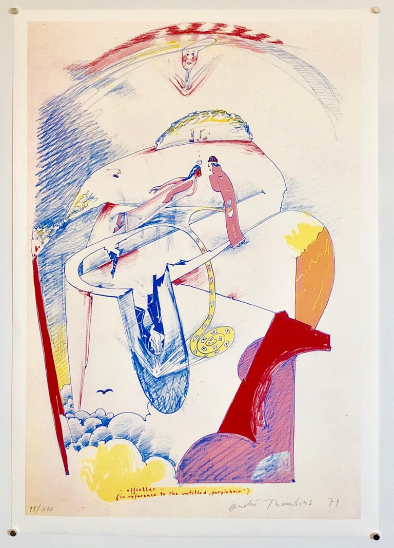 1970s Modernist Swiss Colorful Surrealism Signed Dada Lithograph Andre Thomkins For Sale 2