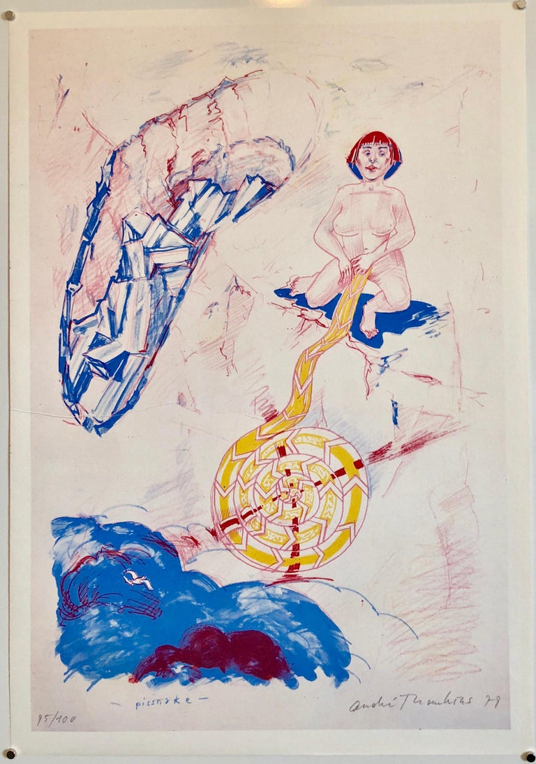 1970s Modernist Swiss Colorful Surrealism Signed Dada Lithograph Andre Thomkins For Sale 3
