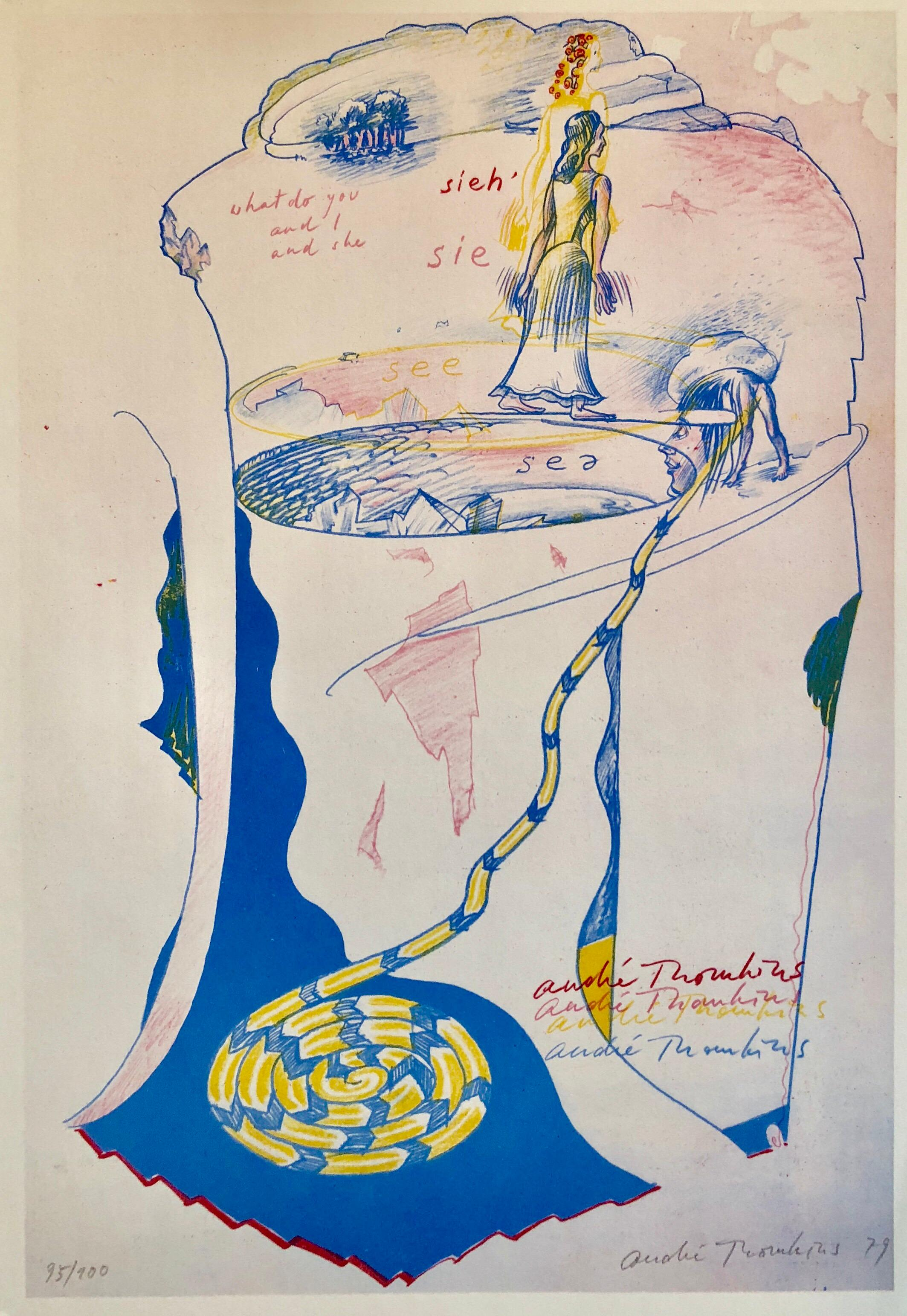 1970s Modernist Swiss Colorful Surrealism Signed Dada Lithograph Andre Thomkins