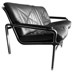 Andre Vanden Beuck Aluminium and Black Leather Sofa