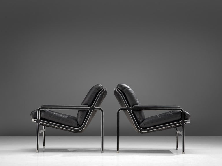 Mid-Century Modern Andre Vandenbeuck Pair of 'Aluline' Easy Chairs, 1960s For Sale