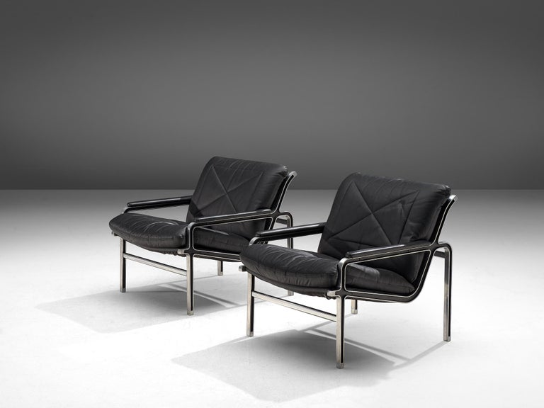 Swiss Andre Vandenbeuck Pair of 'Aluline' Easy Chairs, 1960s For Sale