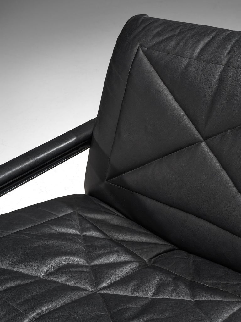 Swiss Andre Vandenbeuck Pair of 'Aluline' Lounge Chairs in Black Leather For Sale