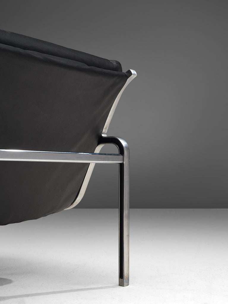 Mid-20th Century Andre Vandenbeuck Pair of 'Aluline' Lounge Chairs in Black Leather For Sale