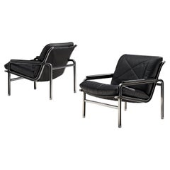 Andre Vandenbeuck Pair of 'Aluline' Lounge Chairs in Black Leather