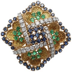 Andre Vassort French Diamond Sapphire Emerald 18 Karat Gold Brooch