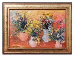 Andre Vignoles Oil Painting on Canvas Original Signed Still Life Flower Artwork