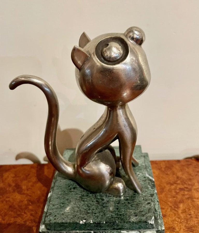 Mid-20th Century André Vincent Becquerel Cat Sculpture Bronze Art Deco For Sale