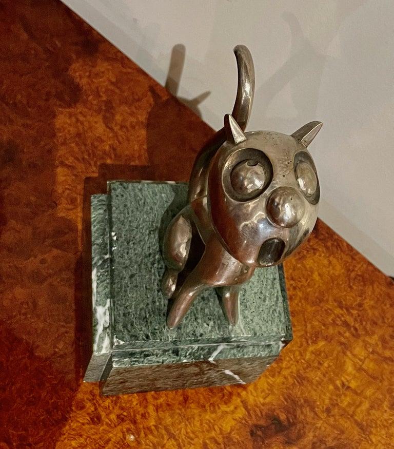 André Vincent Becquerel Cat Sculpture Bronze Art Deco For Sale 1