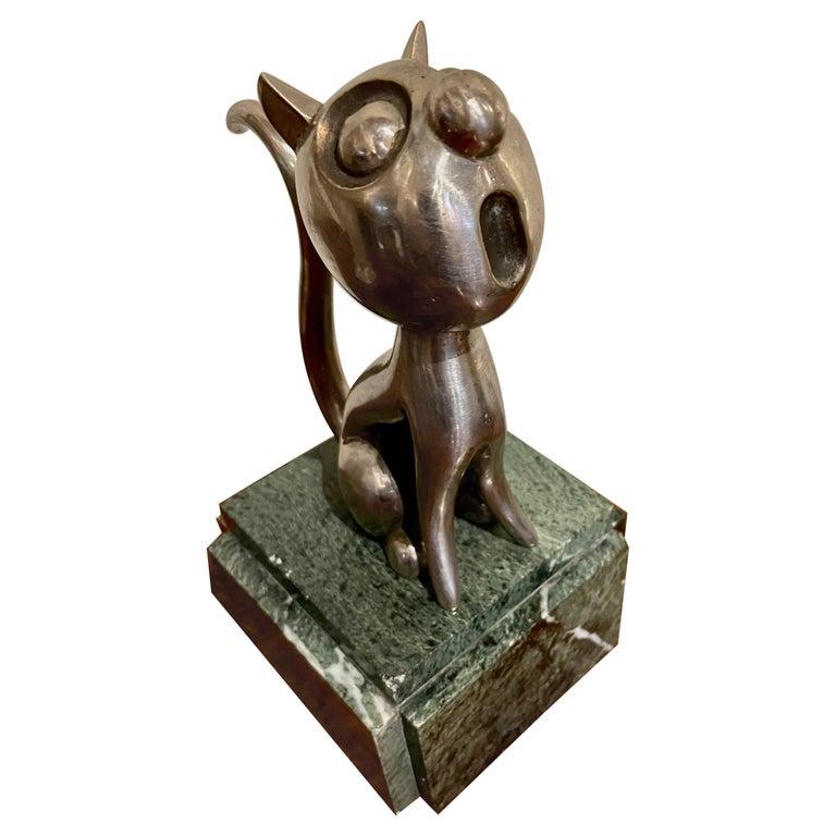 André Vincent Becquerel Cat Sculpture Bronze Art Deco For Sale