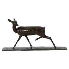 """Andre-Vincent Becquerel """"Doe in Stride"""" Bronze Sculpture"""