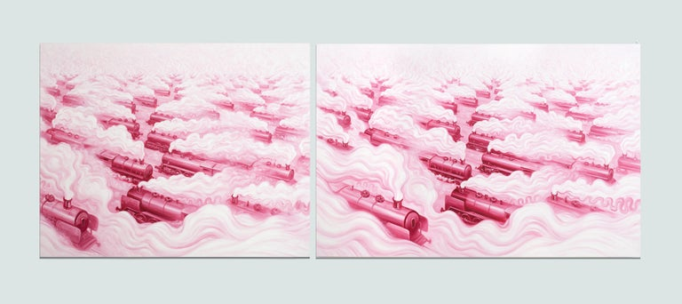 Pink Freud's Dream (Pink Freud and the Pleasant Horizon) (diptych in 2 panels) - Painting by ANDRE VON MORISSE