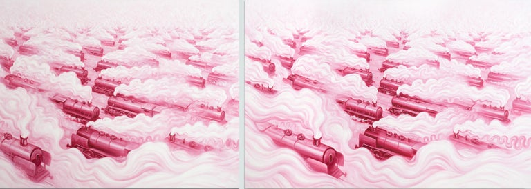 ANDRE VON MORISSE Figurative Painting - Pink Freud's Dream (Pink Freud and the Pleasant Horizon) (diptych in 2 panels)