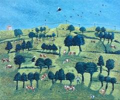 Cheer Up The Hill, Andrea Allen, Landscape Painting, Bird Art, Original Artwork