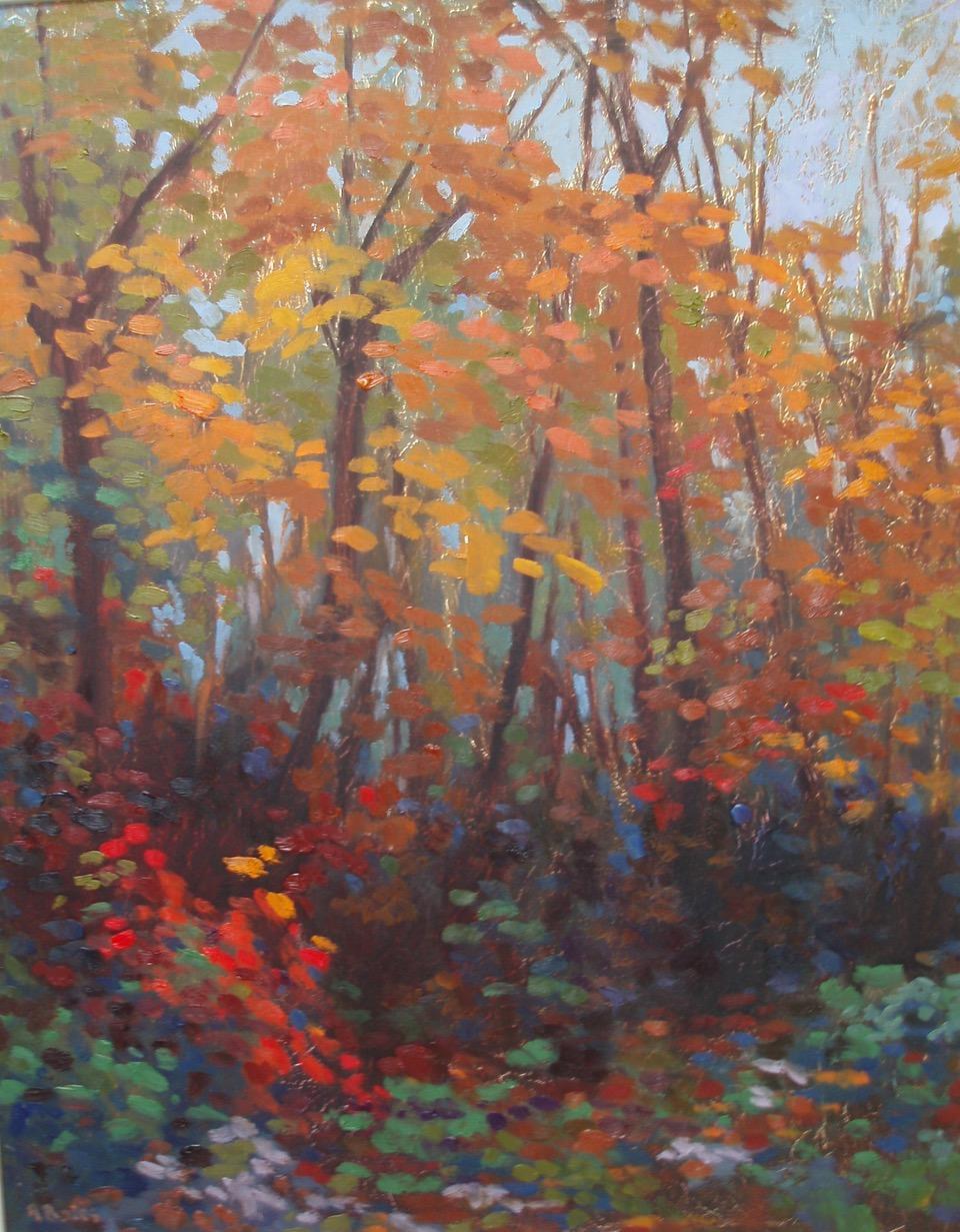 A Park in Autumn, Andrea Bates, Landscape art, Autumn, Orange, Original painting