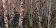 Birch Shapes, Andrea Bates, Original Woodland Landscape Painting, Affordable Art