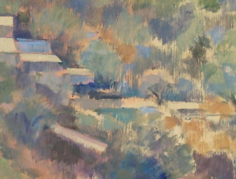 Greek Village  - Gray Still-Life Painting by Andrea Bates