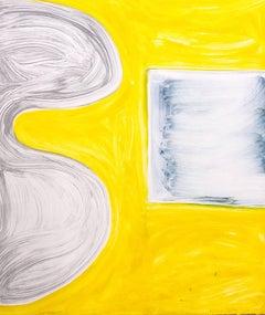 """Sunnyside Yards 12"", abstract gestural monoprint, brilliant yellow, cool gray."