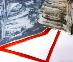 """""""Sunnyside Yards 17"""", large abstract gestural monoprint, red, gray, umber."""