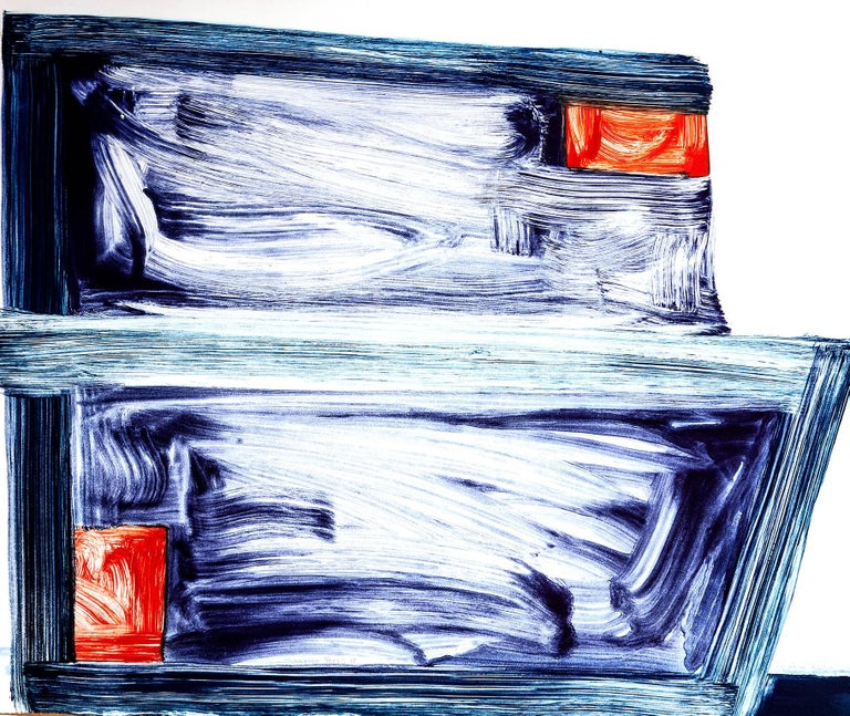 """""""Sunnyside Yard 18""""  is a large, exuberant painterly abstract monotype gestural brushstrokes both disciplined and wildly free.  Printed in bright red, ultramarine blue and turquoise with on 100% cotton rag paper. hand signed in pencil in the lower"""